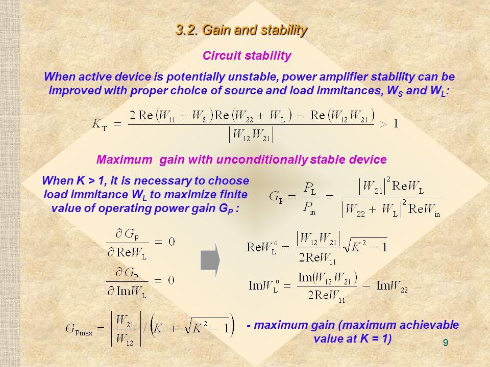 - maximum gain (maximum achievable value at K = 1)