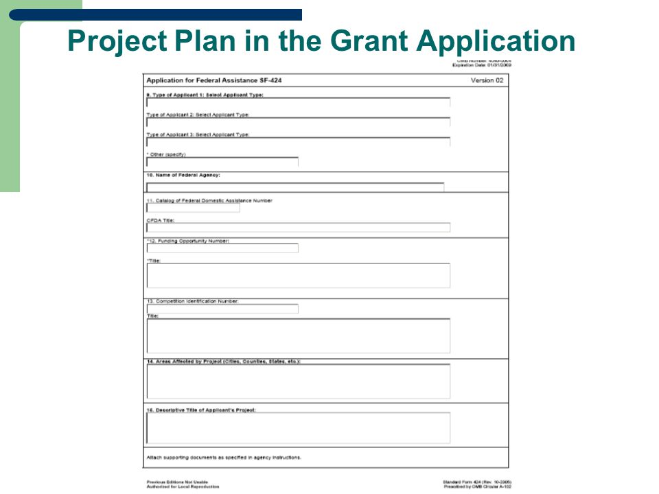 Project Plan in the Grant Application