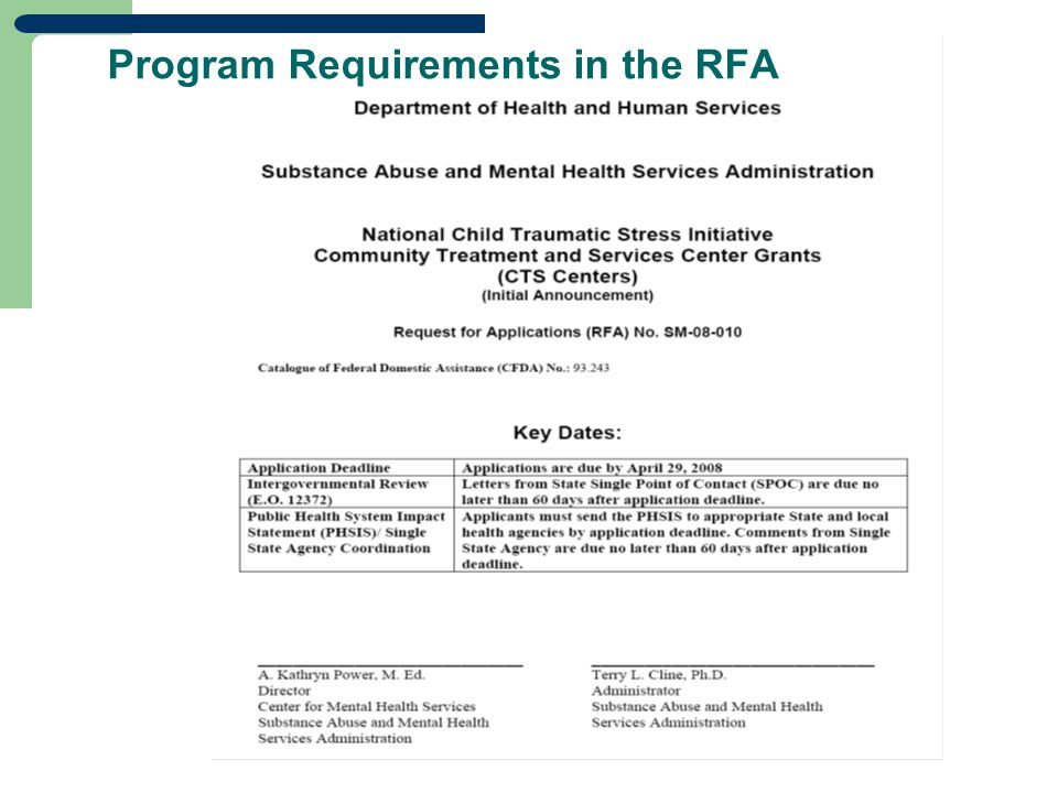 Program Requirements in the RFA