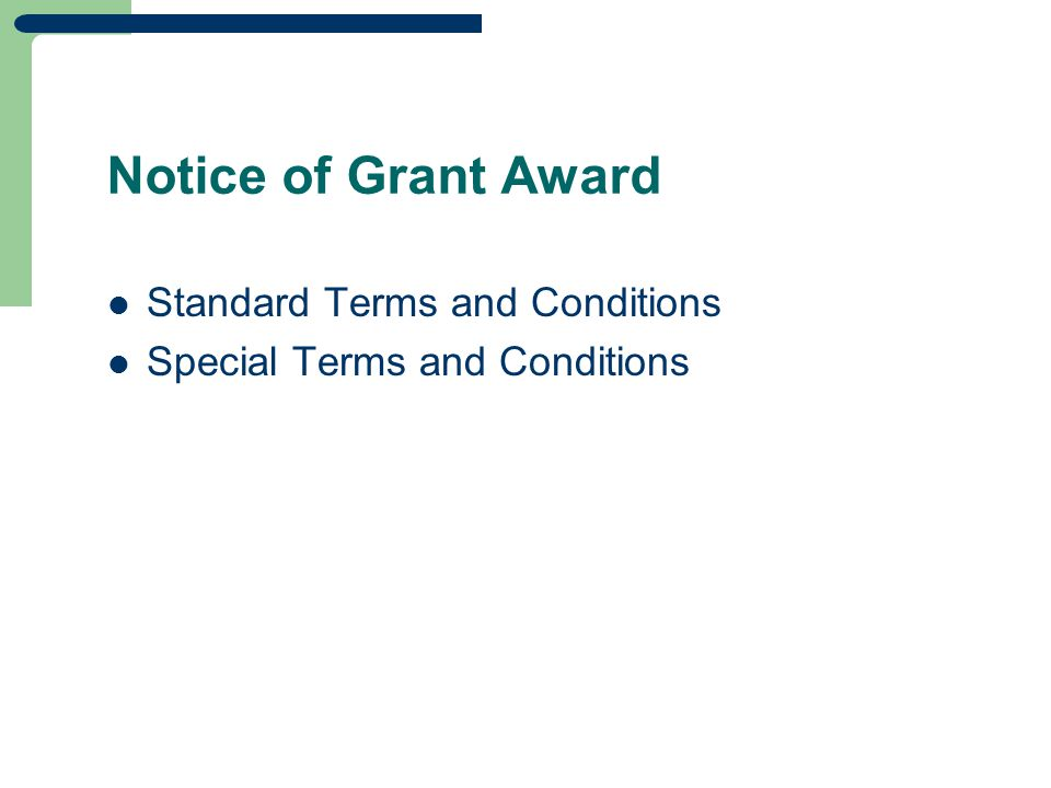 Notice of Grant Award Standard Terms and Conditions