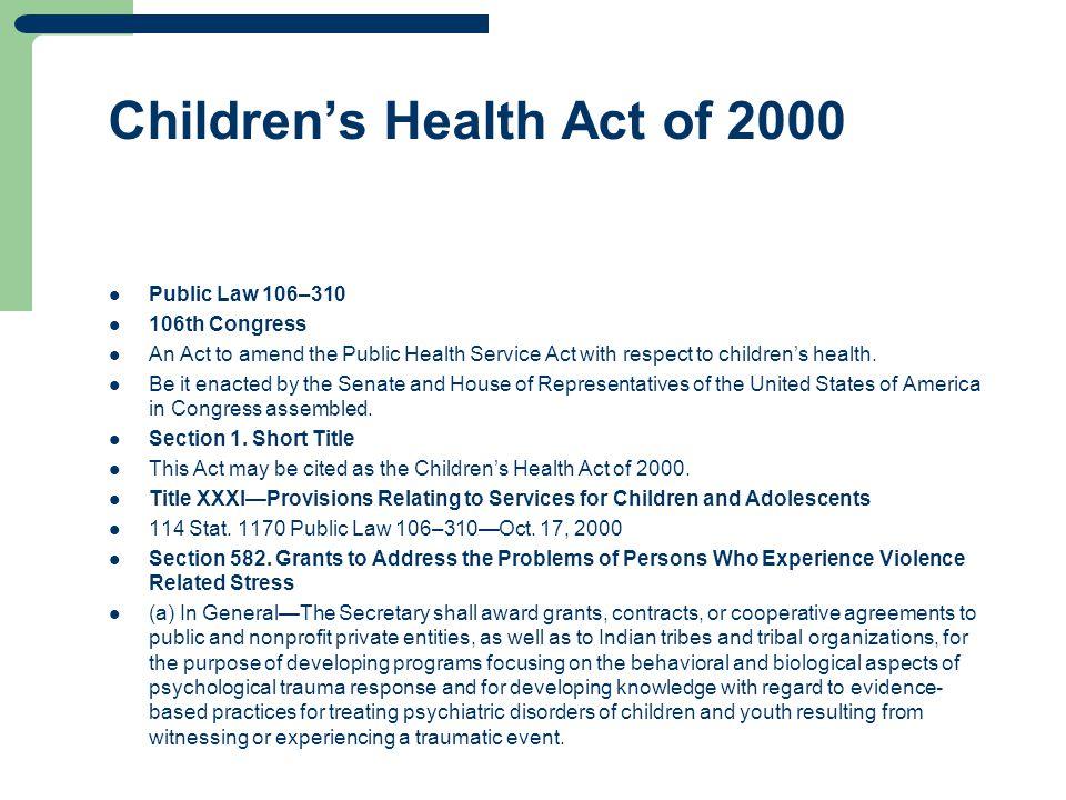 Children's Health Act of 2000