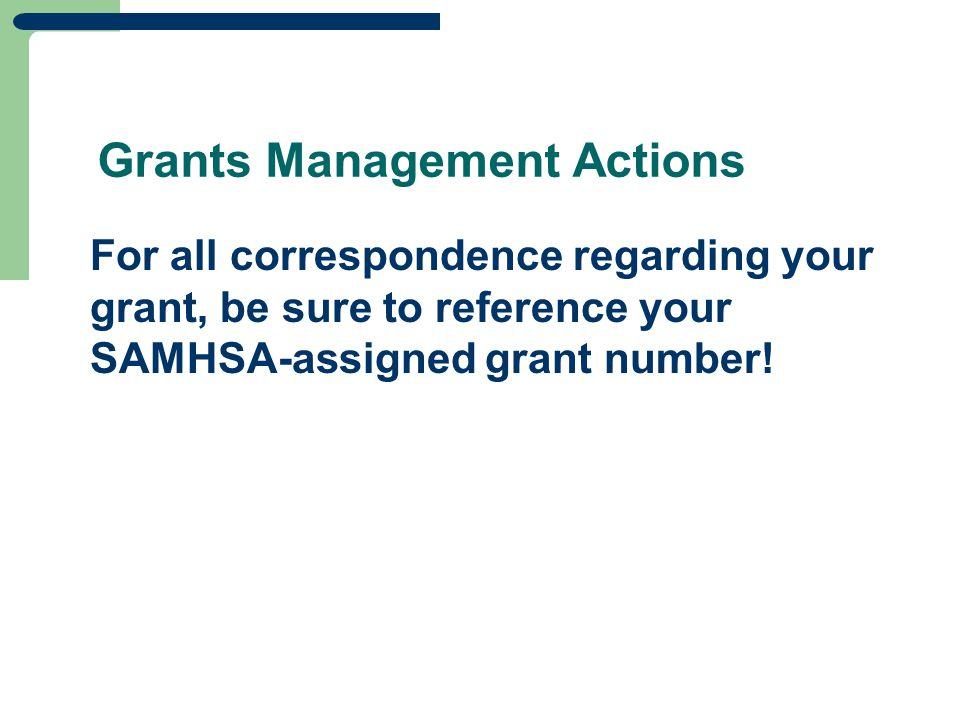 Grants Management Actions
