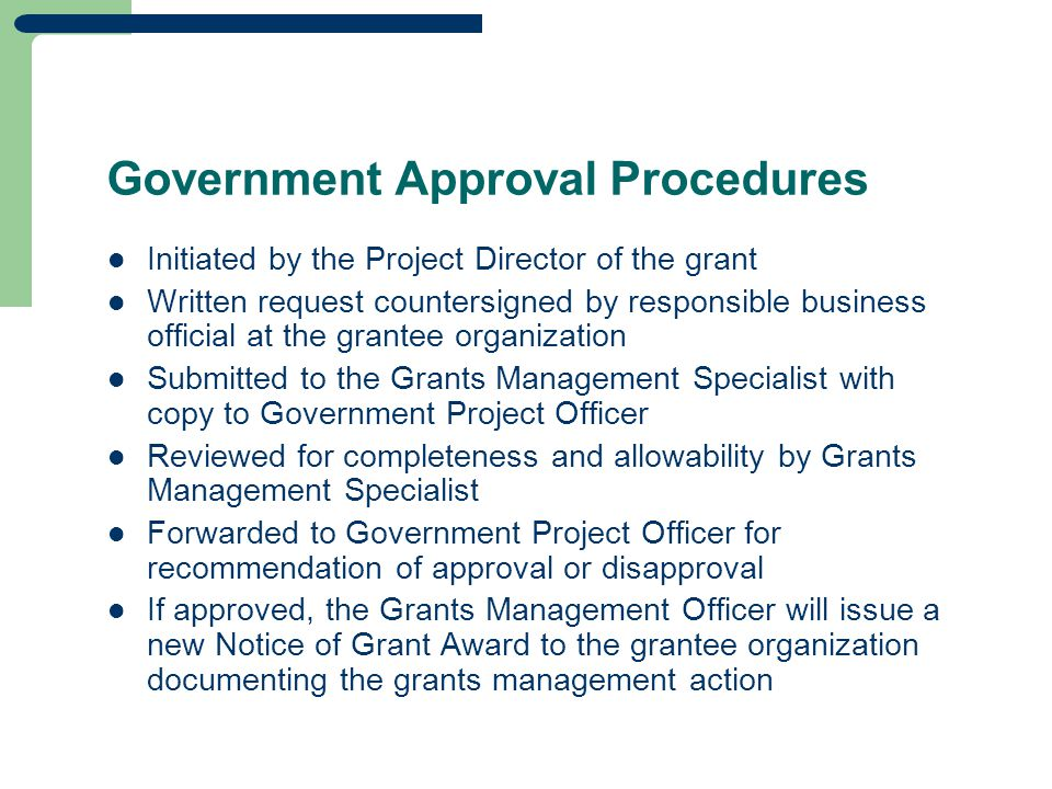 Government Approval Procedures