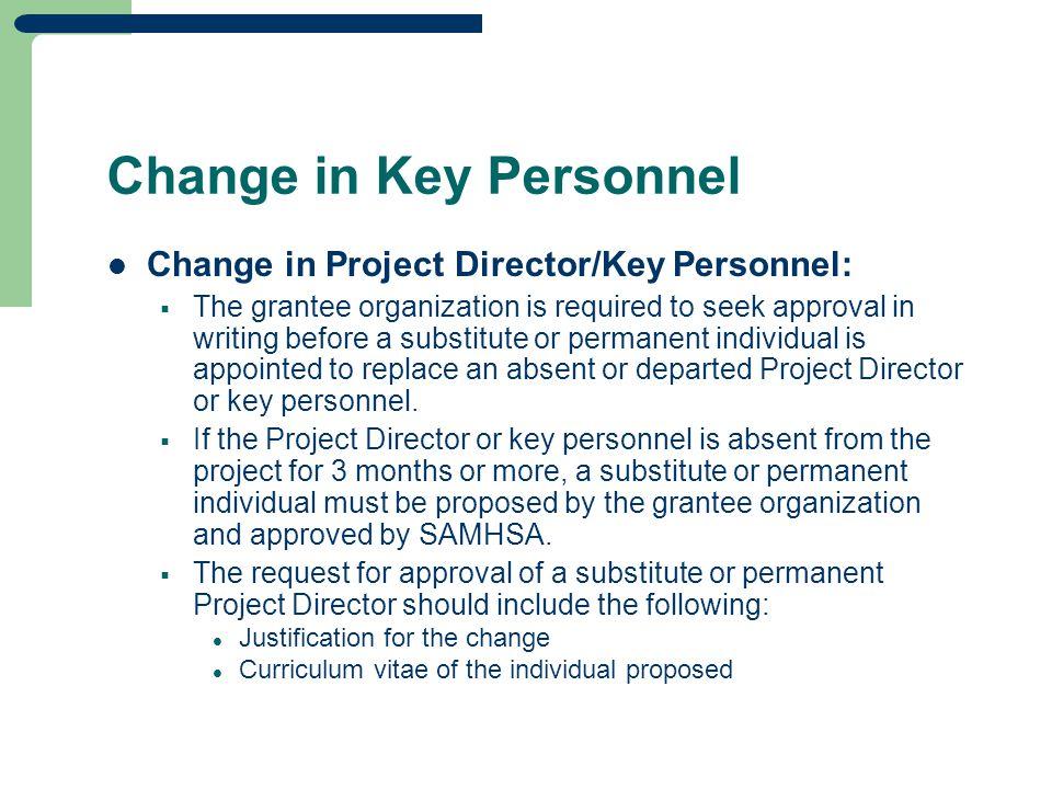 Change in Key Personnel