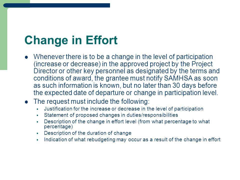 Change in Effort