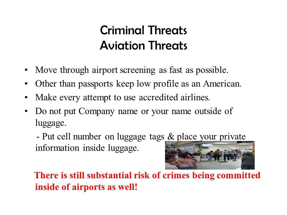 Criminal Threats Aviation Threats
