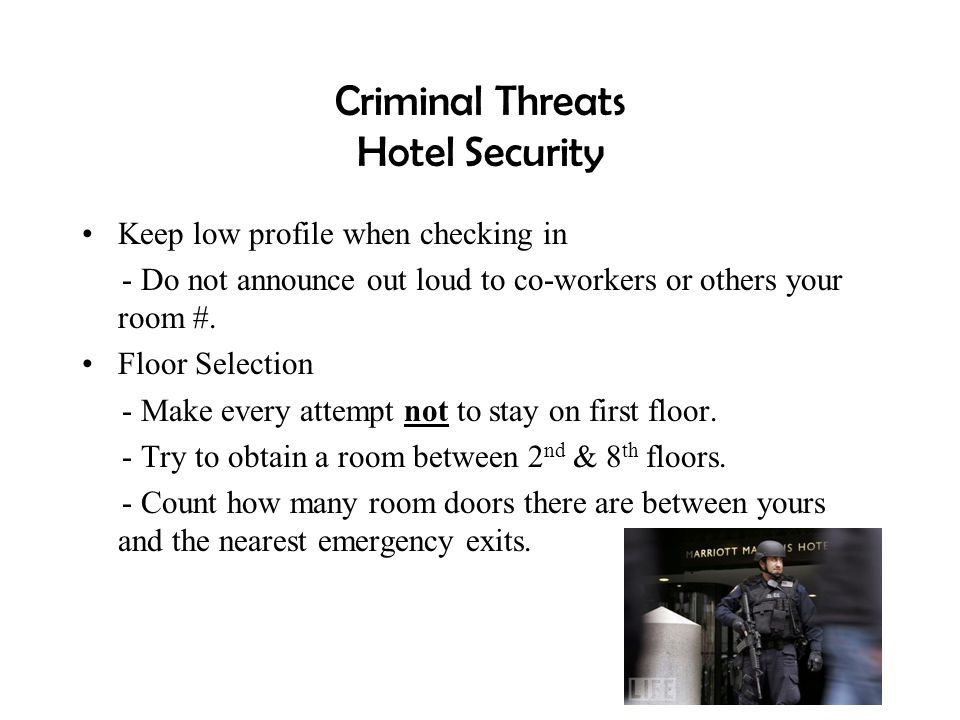 Criminal Threats Hotel Security