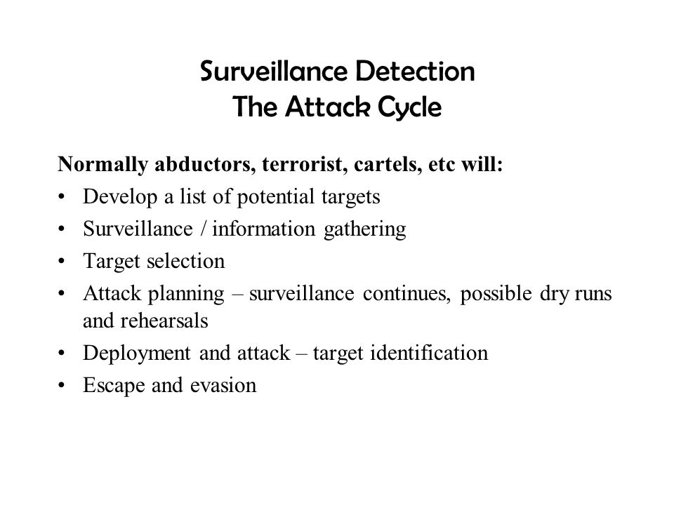 Surveillance Detection The Attack Cycle