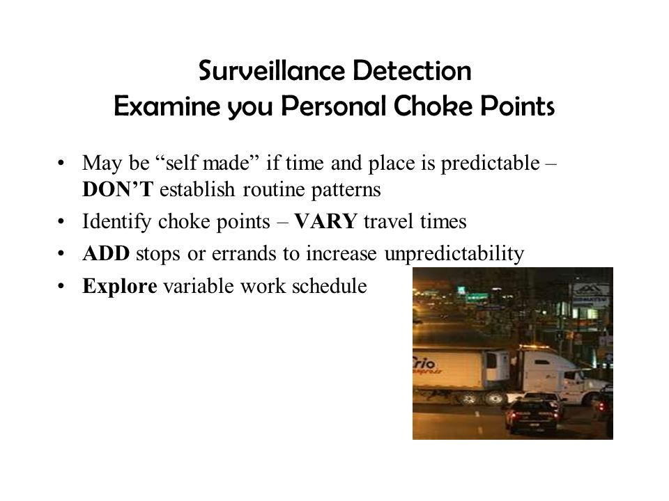 Surveillance Detection Examine you Personal Choke Points