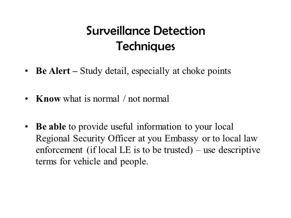 Surveillance Detection Techniques