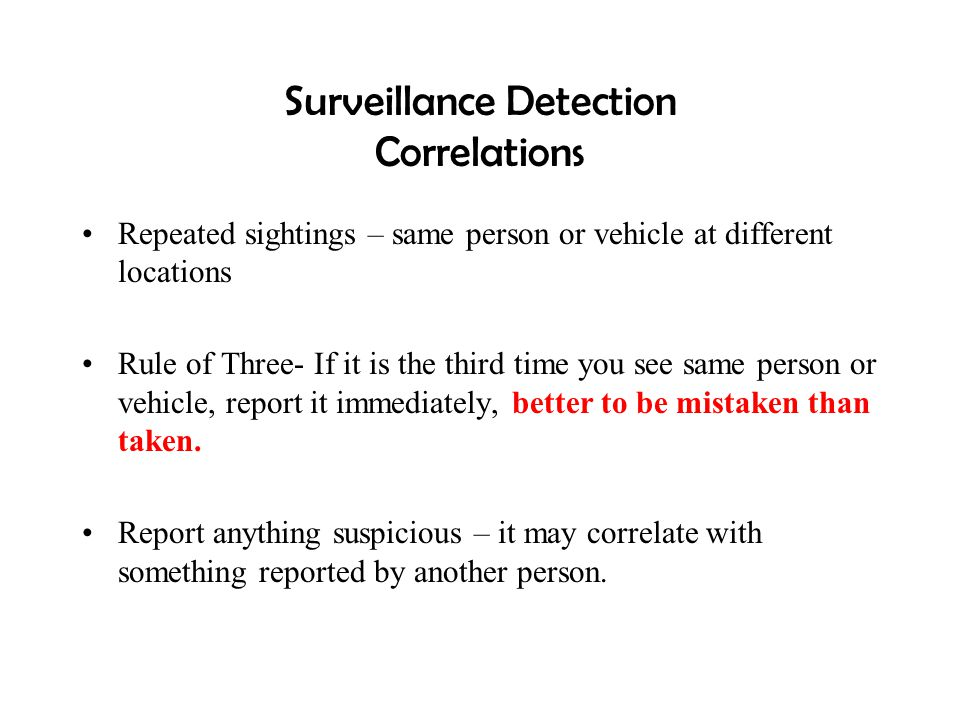 Surveillance Detection Correlations