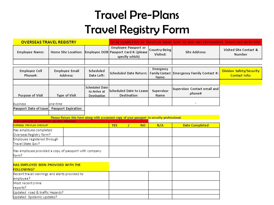 Travel Pre-Plans Travel Registry Form