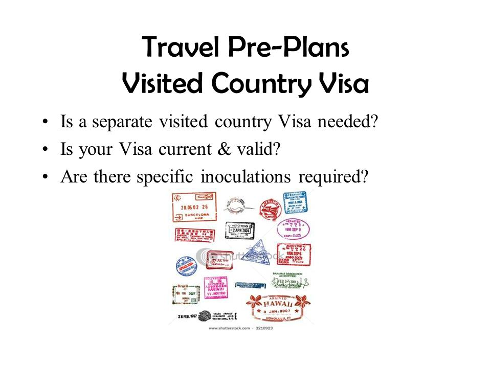Travel Pre-Plans Visited Country Visa