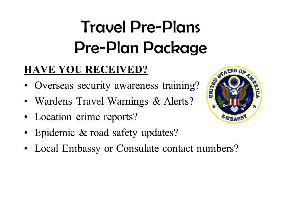 Travel Pre-Plans Pre-Plan Package