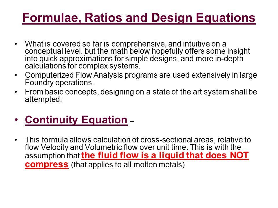 Formulae, Ratios and Design Equations