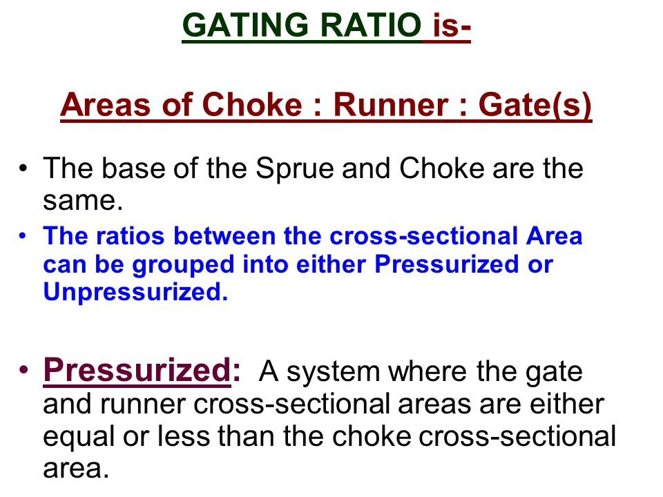 GATING RATIO is- Areas of Choke : Runner : Gate(s)