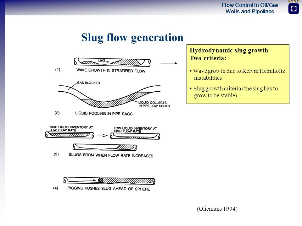 Slug flow generation Hydrodynamic slug growth Two criteria: