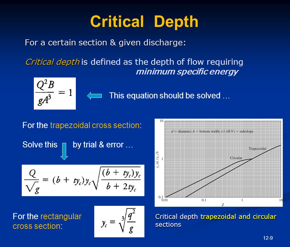 Critical Energy Critical Energy is the energy when the flow is under critical conditions. Recall for any cross section: