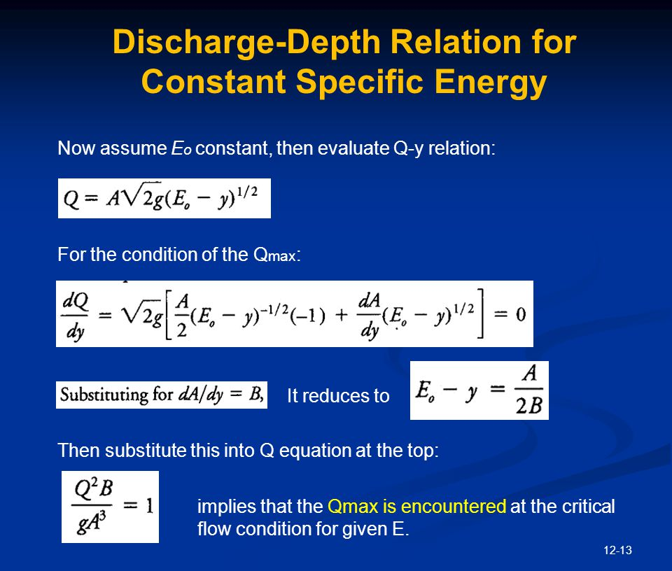 Discharge-Depth Relation for Constant Specific Energy
