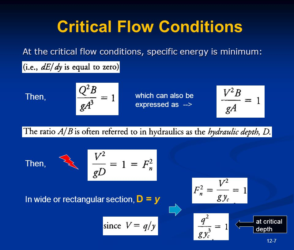 Critical Velocity The general expressions for