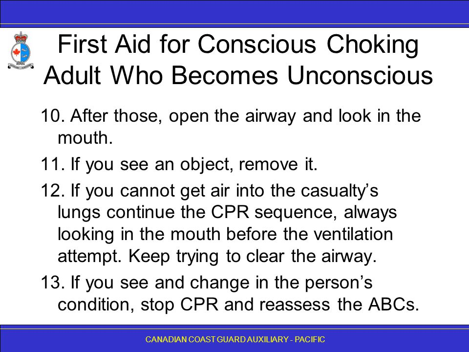 First Aid for Conscious Choking Adult Who Becomes Unconscious