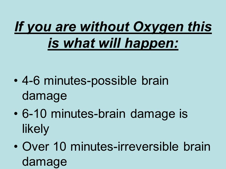 If you are without Oxygen this is what will happen: