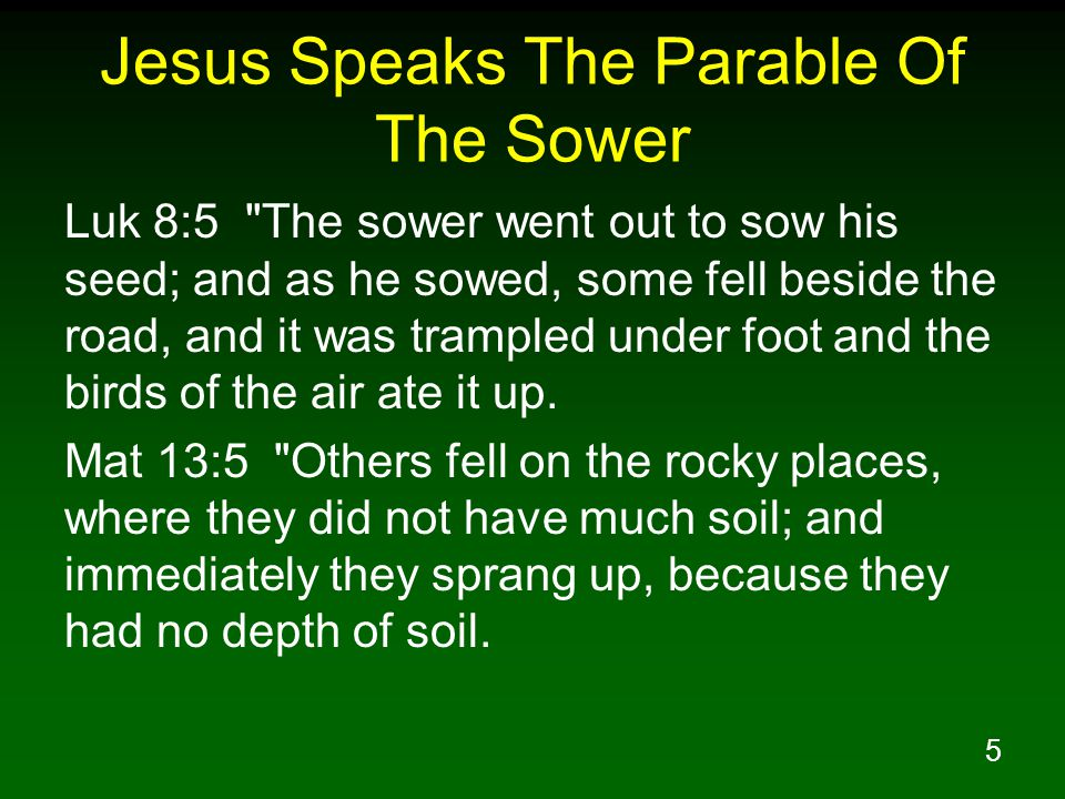 Jesus Speaks The Parable Of The Sower