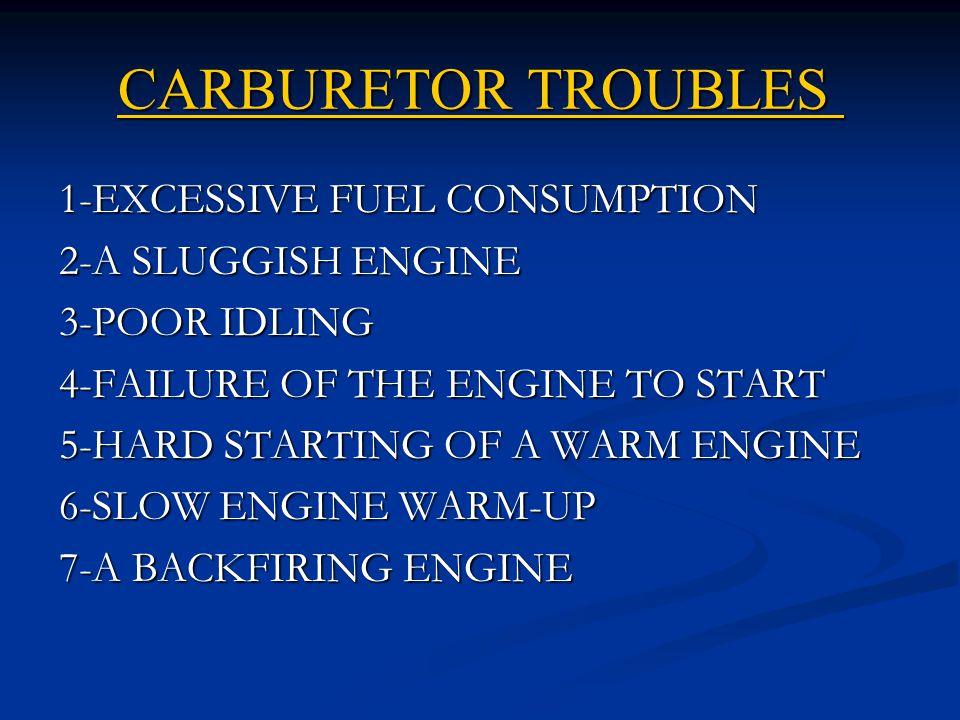 CARBURETOR TROUBLES 1-EXCESSIVE FUEL CONSUMPTION 2-A SLUGGISH ENGINE