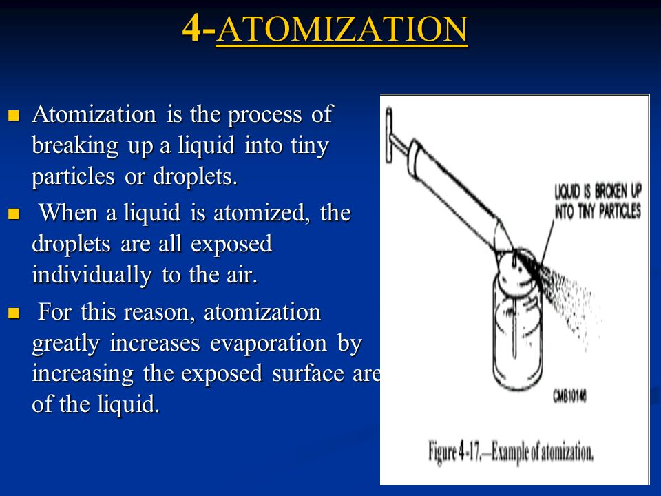 4-ATOMIZATION Atomization is the process of breaking up a liquid into tiny particles or droplets.