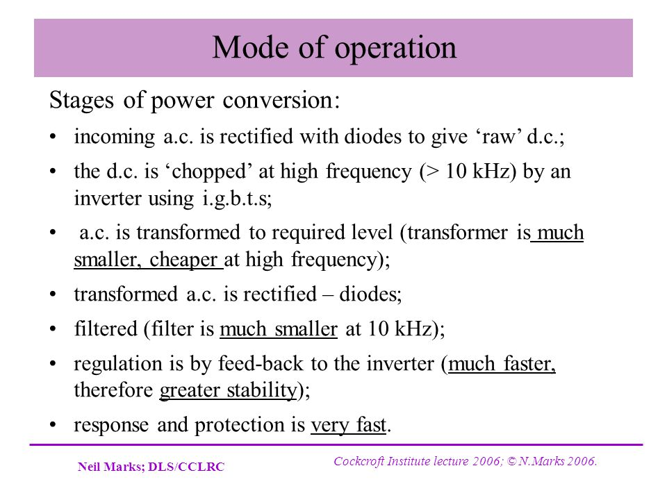 Mode of operation Stages of power conversion: