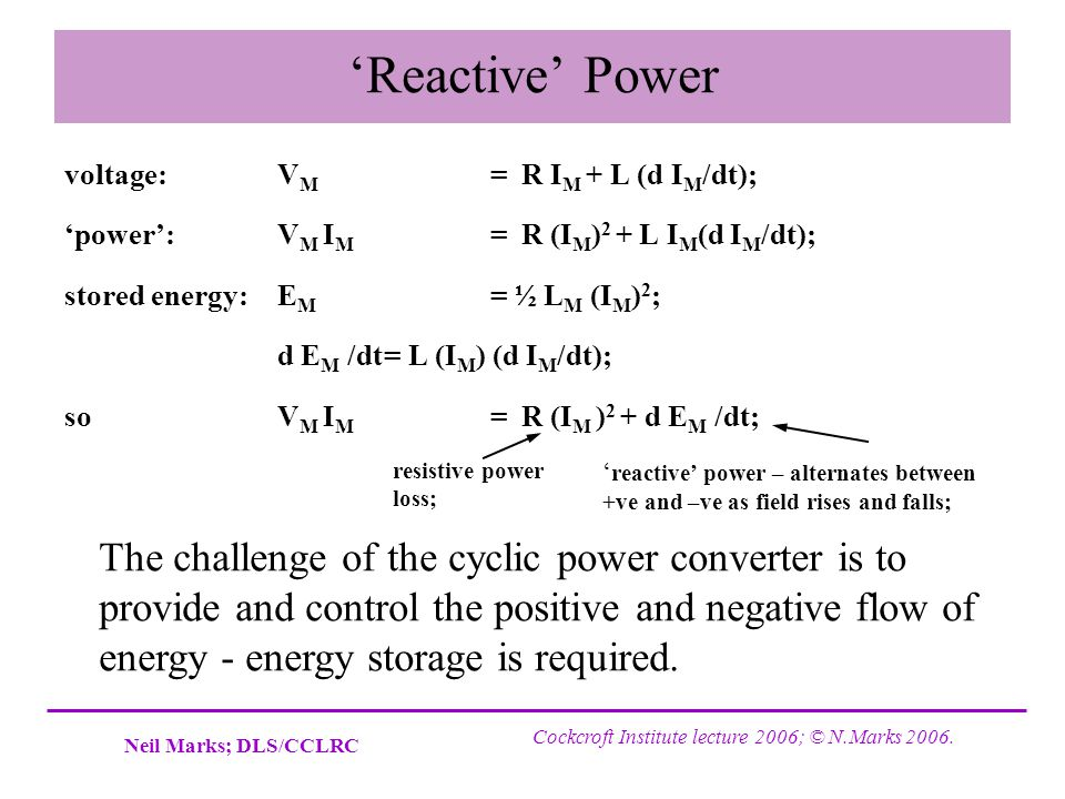'Reactive' Power voltage: VM = R IM + L (d IM/dt); 'power': VM IM = R (IM)2 + L IM(d IM/dt);