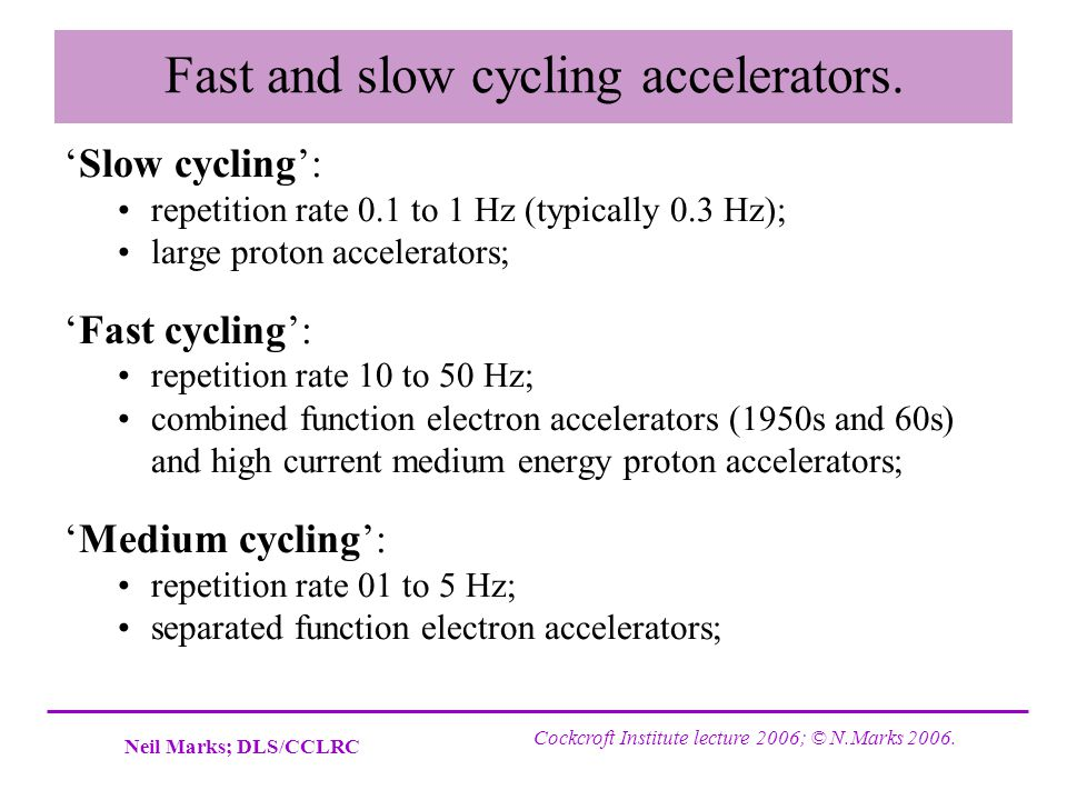 Fast and slow cycling accelerators.