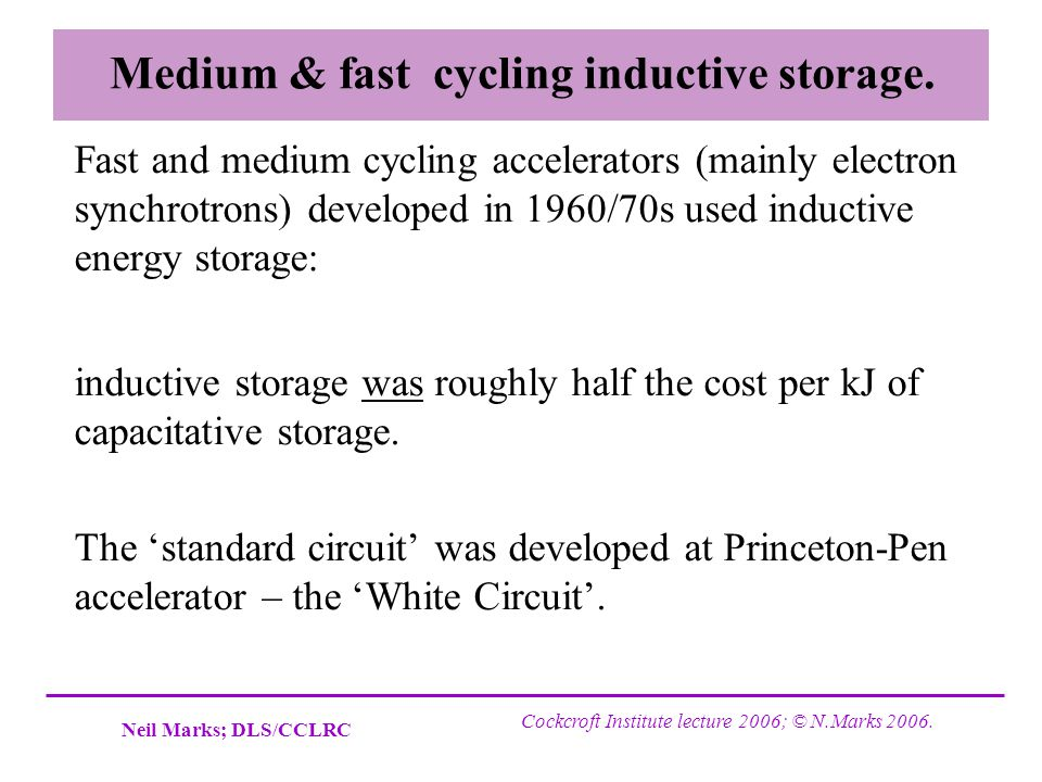 Medium & fast cycling inductive storage.
