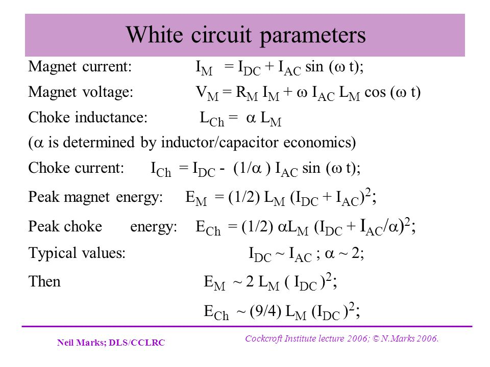 White circuit parameters
