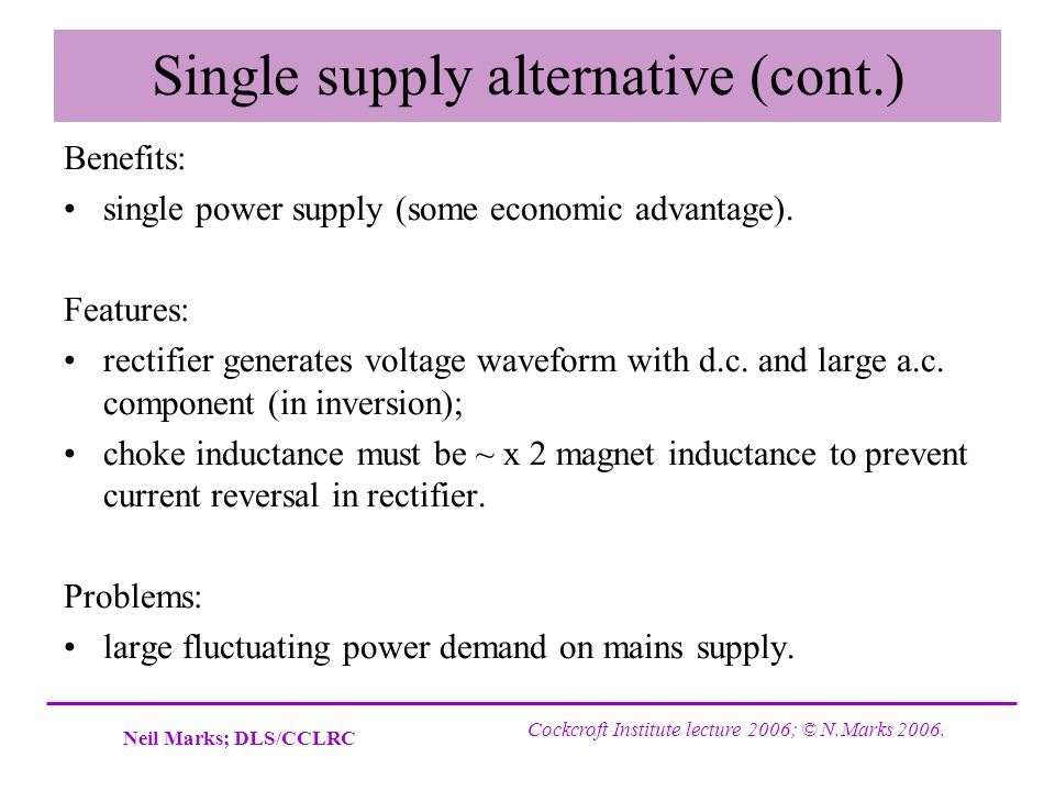 Single supply alternative (cont.)