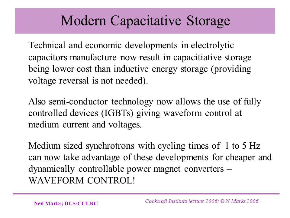 Modern Capacitative Storage