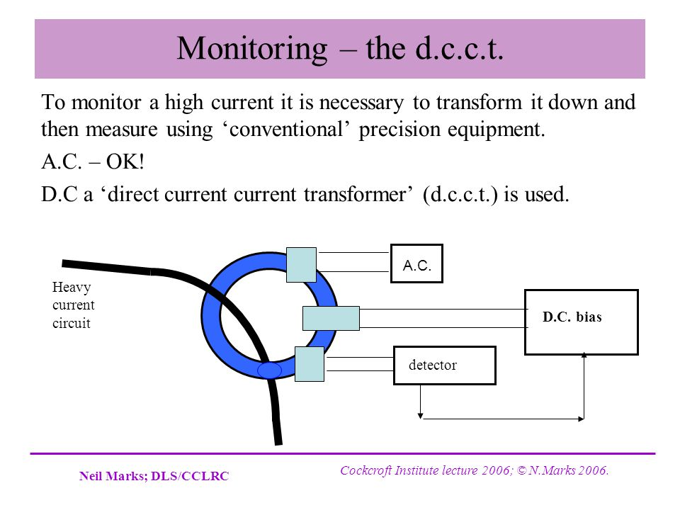 Monitoring – the d.c.c.t. To monitor a high current it is necessary to transform it down and then measure using 'conventional' precision equipment.