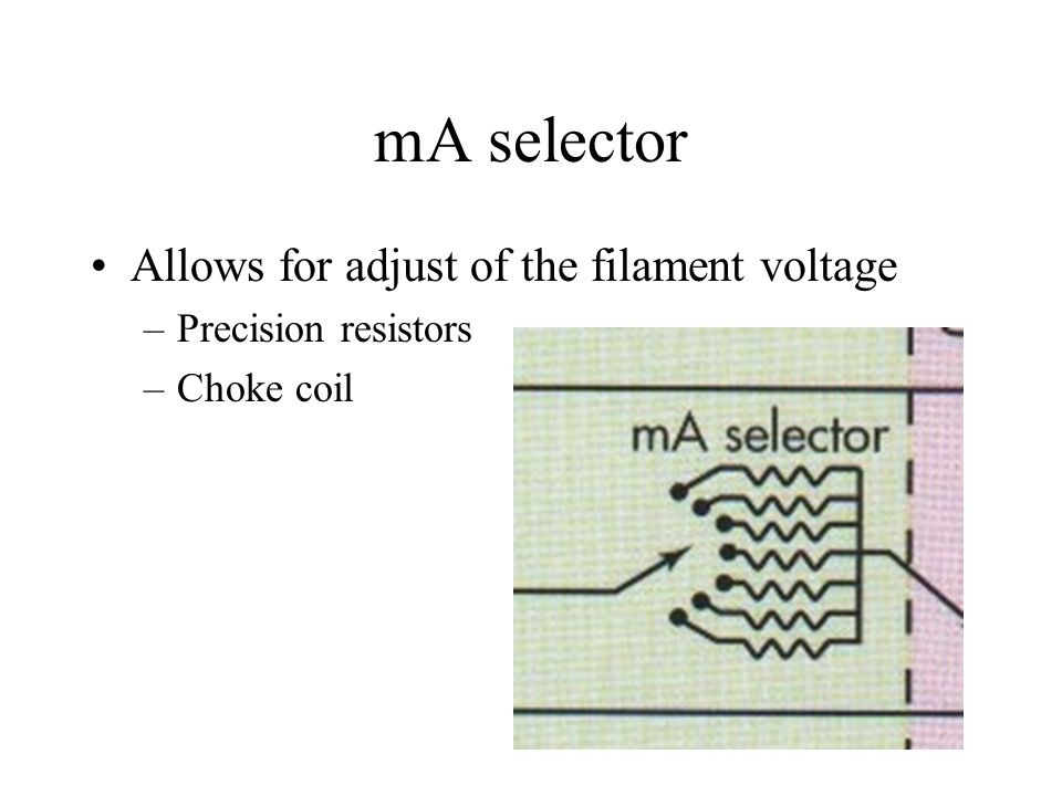 mA selector Allows for adjust of the filament voltage