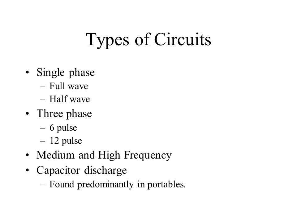Types of Circuits Single phase Three phase Medium and High Frequency