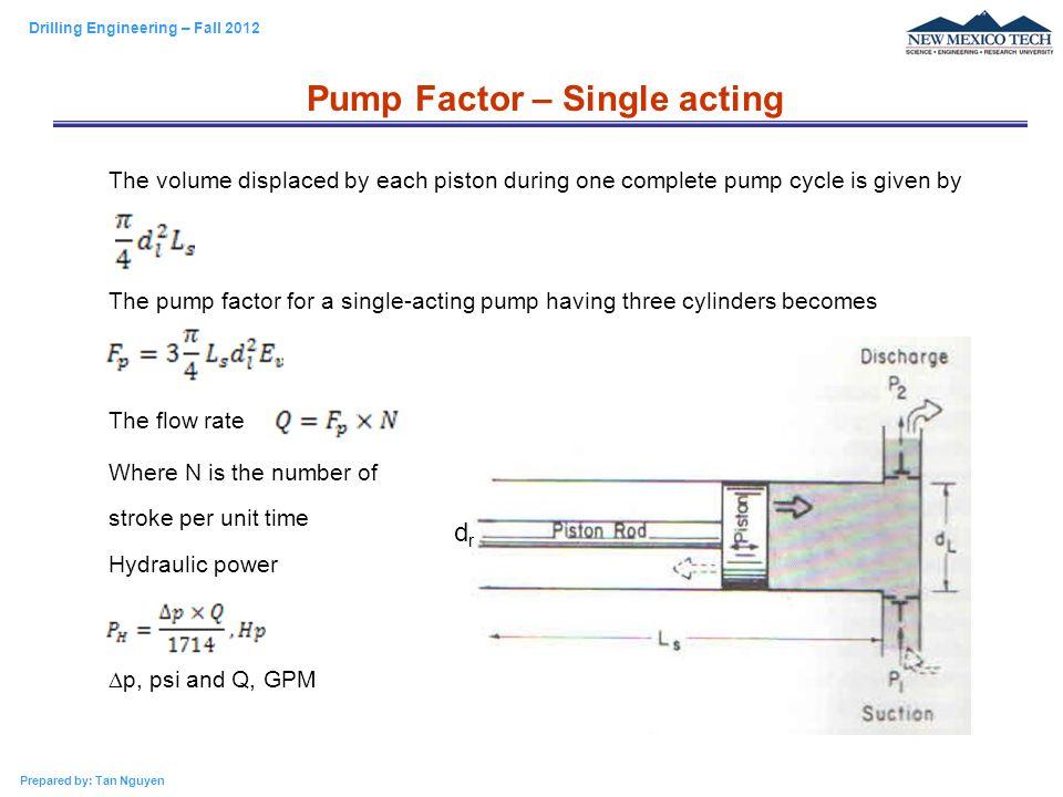 Pump Factor – Single acting