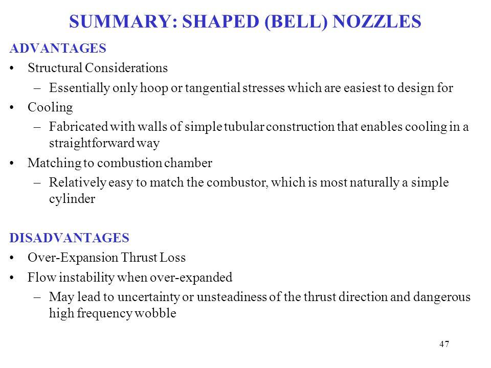 SUMMARY: SHAPED (BELL) NOZZLES