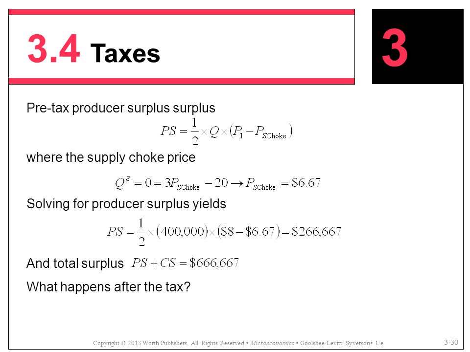 3.4 Taxes 3 Pre-tax producer surplus surplus