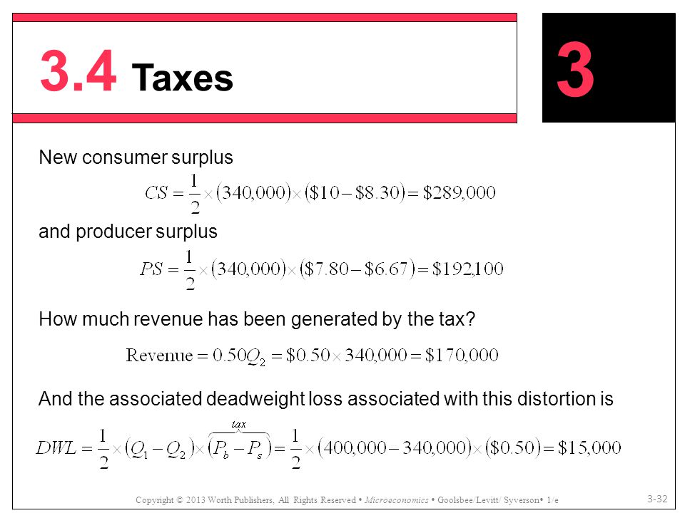 3.4 Taxes 3 New consumer surplus and producer surplus