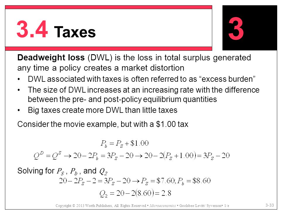 3.4 Taxes 3. Deadweight loss (DWL) is the loss in total surplus generated any time a policy creates a market distortion.