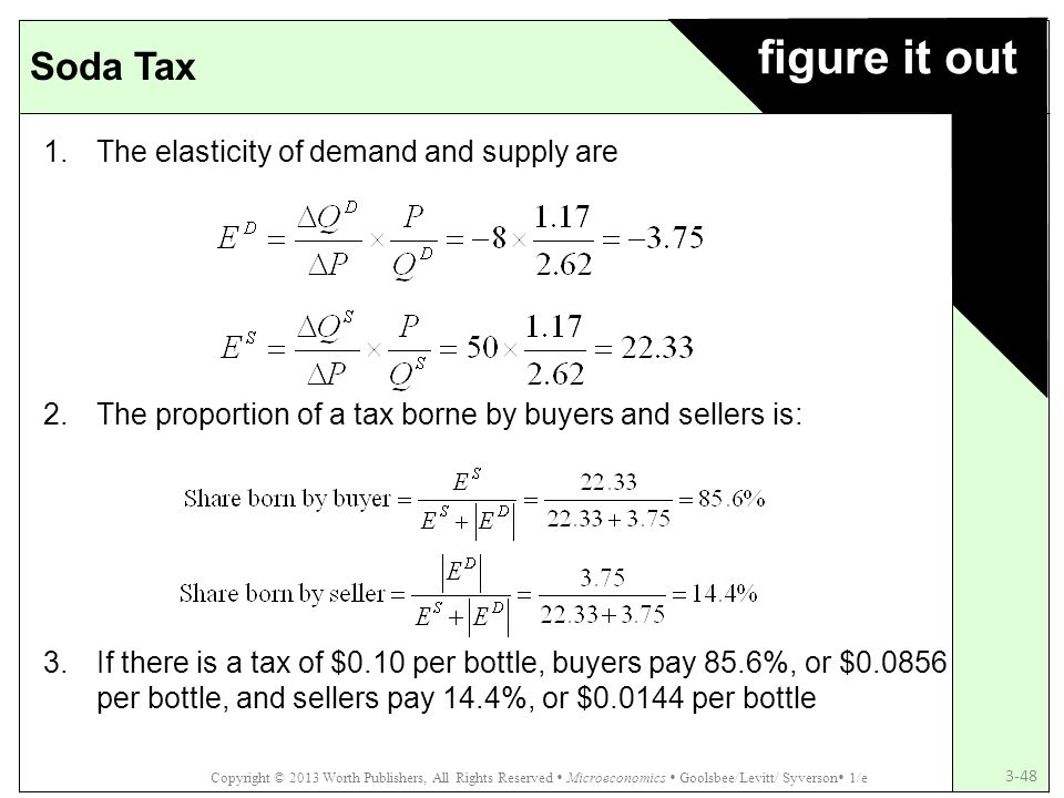 figure it out Soda Tax The elasticity of demand and supply are