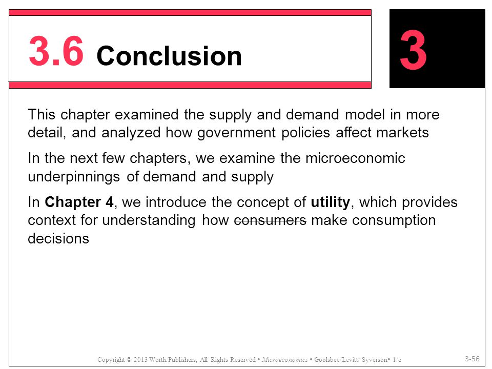 3.6 Conclusion 3. This chapter examined the supply and demand model in more detail, and analyzed how government policies affect markets.