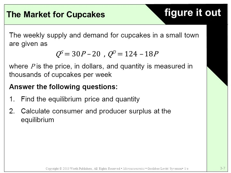 figure it out The Market for Cupcakes QS = 30P – 20 , QD = 124 – 18P