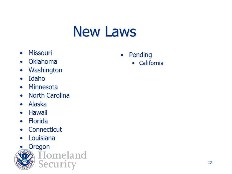 New Laws Missouri Pending Oklahoma Washington Idaho Minnesota