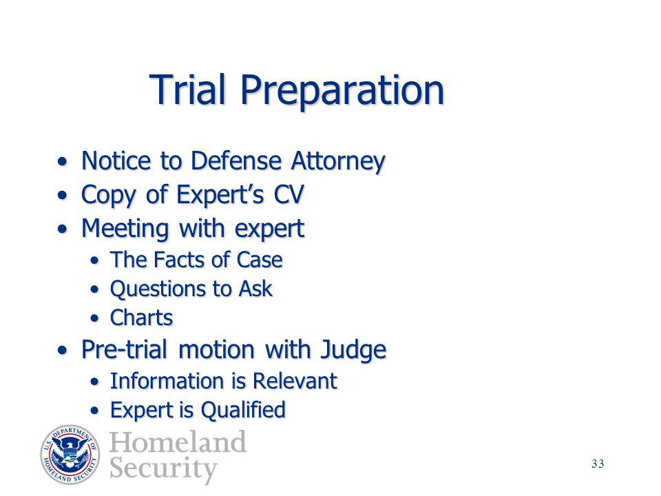 Trial Preparation Notice to Defense Attorney Copy of Expert's CV