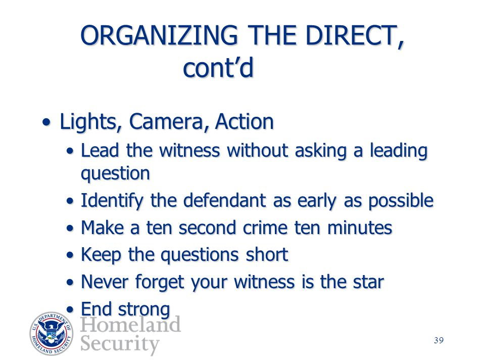 ORGANIZING THE DIRECT, cont'd
